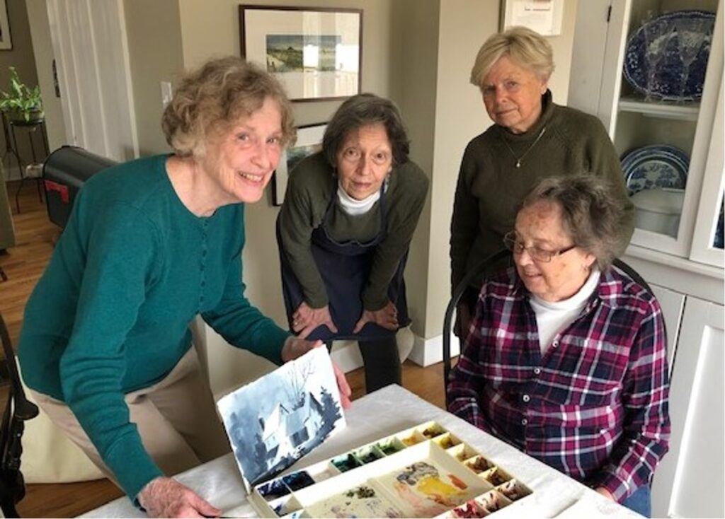 PRE-COVID Mary Horrigan class with Mary Horrigan, Dawn Tyler, Irene Laime, Carole Jeffries (from left-to-right)