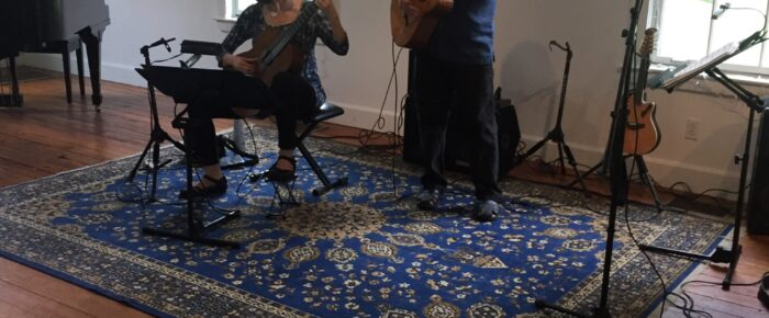 Judy Handler and Mark Levesque playing at the MAC concert on July 11, 2021